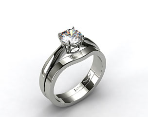18k White Gold 2.2mm Wire Basket Solitaire Ring & 2.3mm Curved Wedding Ring