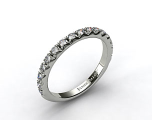 18K White Gold 0.34ct Rounded French-Cut Pave Diamond Wedding Ring