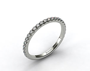 14k White Gold French Cut Pave Set Diamond Wedding Ring