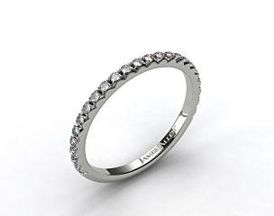 14k White Gold French Cut Pave Set Diamond Wedding Ring