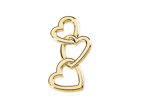 14k Yellow Gold Polished Linked Hearts Pendant