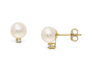 14k  Yellow Gold 5-5.5mm Akoya Pearl & Diamond Stud Earrings