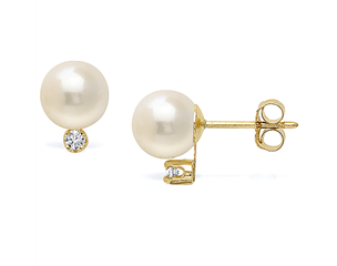 14k Yellow Gold 7-7.5mm Akoya Pearl & Diamond Stud Earrings