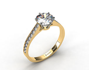 18k Yellow Gold 2.6mm Six Prong Pave Diamond Engagement Ring