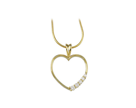 14k Yellow Gold 0.20ctw Diamond Journey Heart Pendant