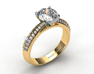 18k Yellow Gold Tapered Knife-Edge Pave Set Diamond Engagement Ring