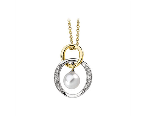 14k Yellow and White Gold Pave Set 7.5mm Akoya Pearl Pendant