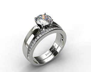 Platinum 3.8mm Rounded Cathedral Solitaire Engagement Ring & .63ct Channel Set Wedding Ring