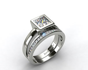 18k White Gold Bezel Set Princess Cut Solitaire Ring & 0.63ct Channel Set Wedding Ring