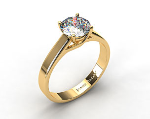 18k Yellow Gold 3.3mm Cross Prong Solitaire Engagement Ring