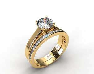 18k Yellow Gold 3.3mm Cross Prong Solitaire Engagement Ring & 0.28ct Channel Set Wedding Band