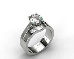 14k White Gold Cross Prong Diamond Accent Solitaire Ring & 0.06ct Diamond Accent Wedding Band