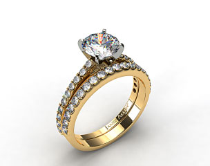 18k Yellow Gold 0.54ct Common Prong Round Shaped Diamond Engagement Ring & 0.57ct Common Prong Wedding Ring