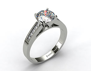 14k White Gold 0.13ctw Channel Set Round Shaped Diamond Engagement Ring