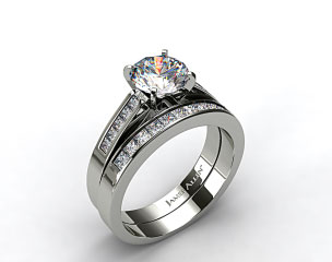 18k White Gold 0.25ct Channel Princess Engagement Ring & 0.30ct Princess Channel Wedding Ring