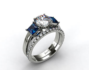 Platinum Three Stone Princess Shaped Blue Sapphire Engagement Ring & French Cut Pave Wedding Ring