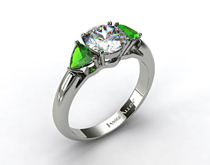 Platinum Three Stone Trillion Shaped Emerald Engagement Ring