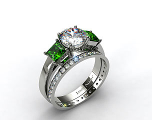 Platinum 3-Stone Carre Cut Emerald Engagement Ring & 0.26ct Pave Eternity Band