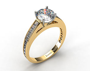 18k Yellow Gold Channel Set Carre Shaped Diamond Engagement Ring