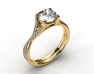 18K Yellow Gold Twisted Pave Shank Contemporary Solitaire