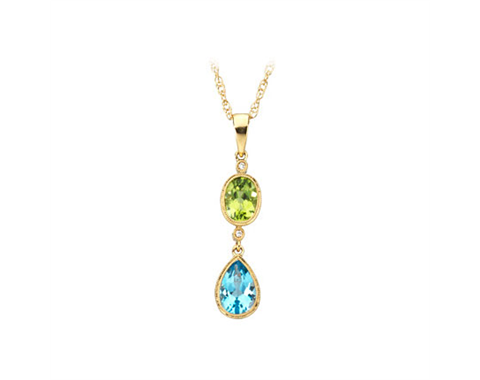 14k Yellow Gold Peridot, Blue Topaz and Diamond Pendant