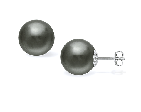 14k White Gold 12mm Tahitian Pearl Stud Earrings