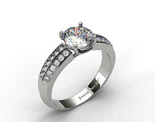 18k White Gold 3.2-4.5mm Pave Knife Edge Engagement Ring