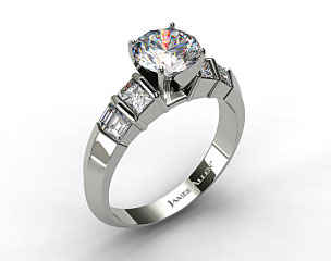14k White Gold Knife-Edge Princess and Baguette Diamond Engagement Ring