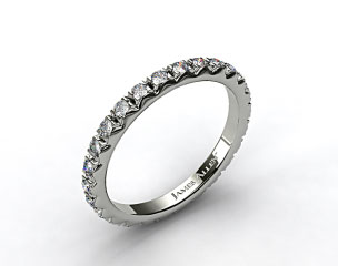 14k White Gold 0.56ct French-Cut Pave Set Diamond Eternity Wedding Ring