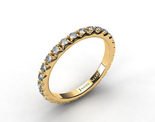 18k Yellow Gold 0.56ct French-Cut Pave Set Diamond Eternity Wedding Ring