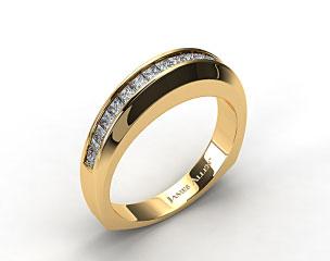 14K Yellow Gold 0.40ct Square Shank Channel Set Princess Shaped Diamond Wedding Band