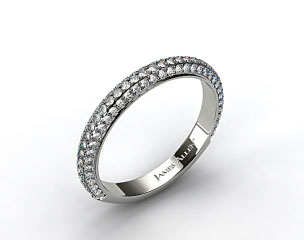 18k White Gold 1.15ctw Rounded Pave Set Diamond Wedding Ring