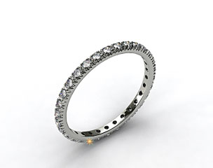 18K White Gold Thin French-Cut Pave Set Diamond Eternity Wedding Ring