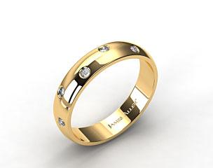 14k Yellow Gold 4mm Bezel Set Zig-Zag Diamond Wedding Ring