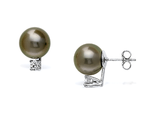 14k White Gold 10-11mm Tahitian Pearl & Diamond Stud Earrings