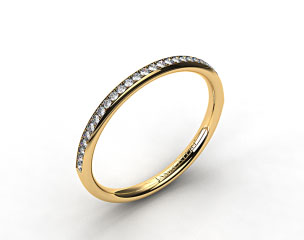 14K Yellow Gold 2mm, 24 Stone, 0.16ctw Matching Pave Wedding Band