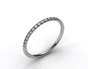 18k White Gold 1.5mm, 23 Stone, 0.16ctw Matching Pave Wedding Band