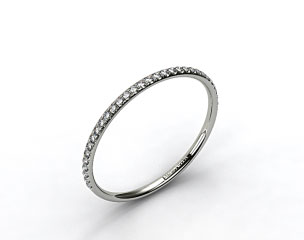 14K White Gold Pave Rounded Wedding Band