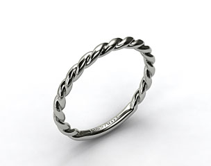 14K White Gold Cable Wedding Band