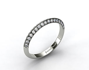 14K White Gold Pave Knife Edge Matching Lotus Band
