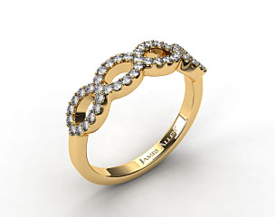 18K Yellow Gold Pave Infinity Diamond Wedding Ring
