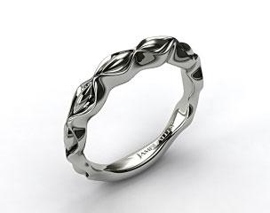 14K White Gold Sculpted Designer Wedding Ring