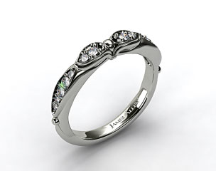 14K White Gold Button and Tied Graduated Pave Wedding Ring