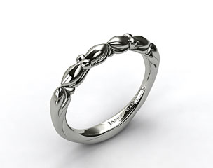 18K White Gold Twisted Four Prong Ribbon Wedding Ring