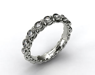 14k White Gold Pave Undergallery Wedding Band