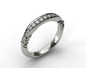 14k White Gold Pave Graduated Wedding Band