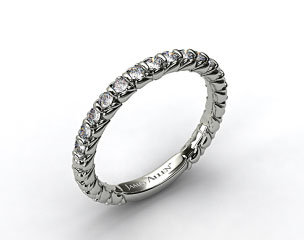 18k White Gold Single Bar Set Wedding Band