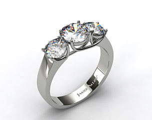 Platinum 1.00 Carat Total Weight Three Stone Cross Prong Diamond Engagement Ring