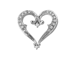 14k White Gold 1/5cttw Diamond Heart Pendant