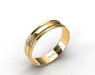 14K Yellow Gold 6mm Milgrained Edge Comfort Fit Wedding Band